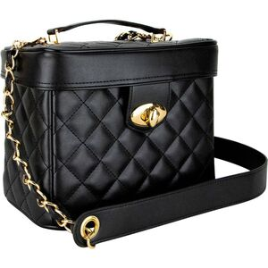 Black Quilted Gold Trunk Bag With Brush Holder And Removable Shoulder Strap (VB002-31)
