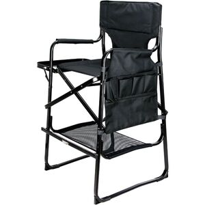 Black Tall Aluminum Director Chair With Table Tray And Pockets Storage (VCH002-102)