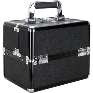 Black Glitter 2-Tiers Extendable Trays Makeup Train Case (VK002-51)