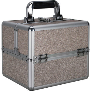 Beige Glitter 2-Tiers Extendable Trays Makeup Train Case (VK002-510)
