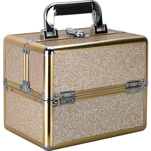 Champagne Glitter 2-Tiers Extendable Trays Makeup Train Case (VK002-511)
