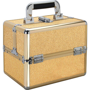 Gold Glitter 2-Tiers Extendable Trays Makeup Train Case (VK002-57)