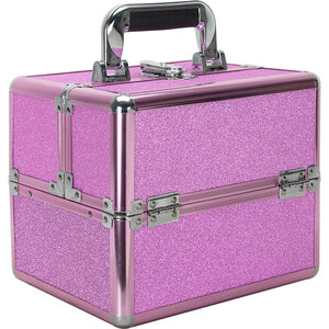 Magenta Glitter 2-Tiers Extendable Trays Makeup Train Case (VK002-59)