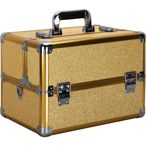 Gold Glitter Easy Slide Extendable Trays Professional Cosmetic Makeup Case With Dividers (VK003-57)