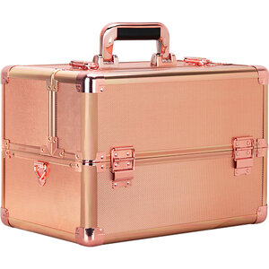 Rose Gold Dot Easy Slide Extendable Trays Professional Cosmetic Makeup Case With Dividers (VK003-75)