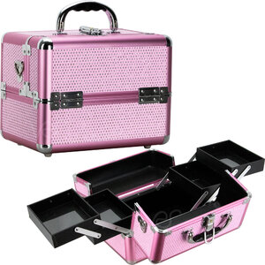 Pink Krystal 4-Tiers Expandable Trays Cosmetic Makeup Train Case Organizer Travel (VK004-43)