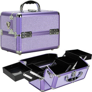 Purple Krystal 4-Tiers Expandable Trays Cosmetic Makeup Train Case Organizer Travel (VK004-48)