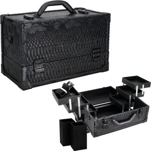 Black Python 6-Tiers Accordion Trays Professional Cosmetic Makeup Train Case (VK3201SNAB)