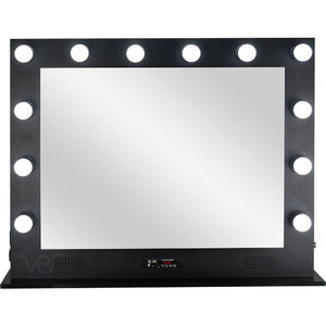 Black 12 Dimmable Led Light Metal Body And Glass Base Hollywood Xl Vanity Mirror With Bluetooth Usb Speakers And Mp3 (VL004-112)