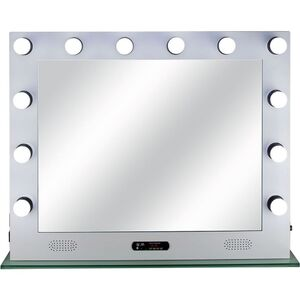 White 12 Dimmable Led Light Metal Body And Glass Base Hollywood Xl Vanity Mirror With Bluetooth Usb Speakers And Mp3 (VL004-116)