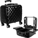 Black Quilted Professional Travel 4-Wheels Rolling Makeup Studio Case With Led Lights Mirror Trays & Tsa Accepted Locks (VL7201PCAB)