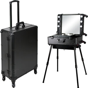 Black Matte Professional Rolling Studio Makeup Case With Dimmable Led Lights Legs & Mirror (VLR002-22)