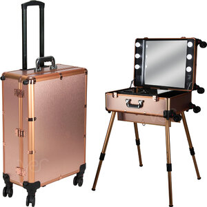 Rose Gold Professional Rolling Studio Makeup Case With Dimmable Led Lights Legs & Mirror (VLR002-25)