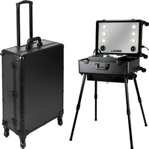 Black Matte Professional Rolling Studio Makeup Case With Touchscreen Power 3 Temp Led Lights Multimedia Speakers Legs & Mirror (VLR003-22)