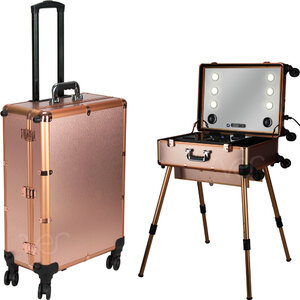 Rose Gold Professional Rolling Studio Makeup Case With Touchscreen Power 3 Temp Led Lights Multimedia Speakers Legs & Mirror (VLR003-25)