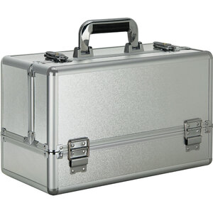 Silver Matte 6-Tiers Accordion Trays Professional Cosmetic Makeup Train Case (VP001-24)