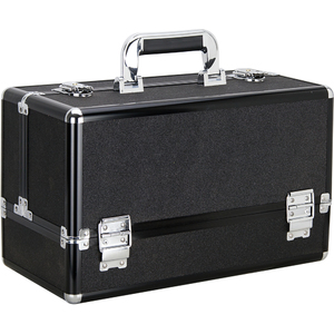 Black Glitter 6-Tiers Accordion Trays Professional Cosmetic Makeup Train Case (VP001-51)