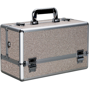 Silver Beige Glitter 6-Tiers Accordion Trays Professional Cosmetic Makeup Train Case (VP001-510)