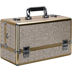 Champagne Gold Glitter 6-Tiers Accordion Trays Professional Cosmetic Makeup Train Case (VP001-511)