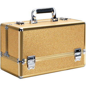 Gold Glitter 6-Tiers Accordion Trays Professional Cosmetic Makeup Train Case (VP001-57)
