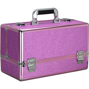 Magenta Glitter 6-Tiers Accordion Trays Professional Cosmetic Makeup Train Case (VP001-59)