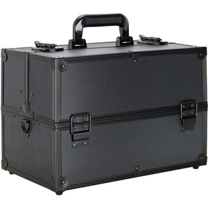 Ver Beauty Black Dot 4-Tiers Extendable Trays Professional Cosmetic Makeup Case With Dividers (VP005-72)