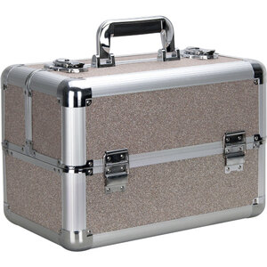 Silver Beige Glitter 4 Extendable Trays Professional Cosmetic Makeup Case With Dividers (VP006-510)