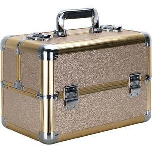 Champagne Gold Glitter 4 Extendable Trays Professional Cosmetic Makeup Case With Dividers (VP006-511)