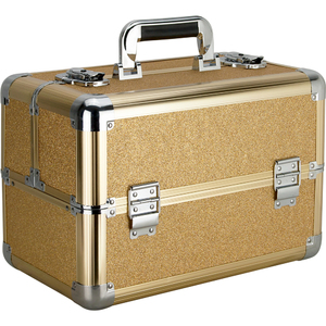 Gold Glitter 4 Extendable Trays Professional Cosmetic Makeup Case With Dividers (VP006-57)