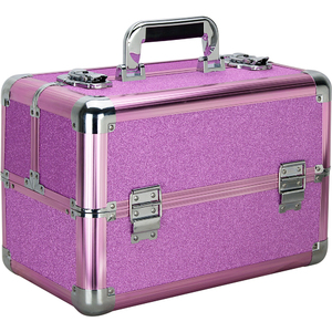 Magenta Glitter 4 Extendable Trays Professional Cosmetic Makeup Case With Dividers (VP006-59)