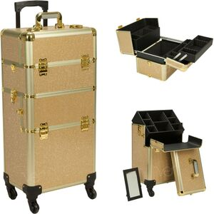 Gold Krystal Pattern 4-Wheels Detachable Professional Rolling Aluminum Cosmetic Makeup Case And Easy-Slide & Extendable Trays With Dividers (VR6501KLGL)