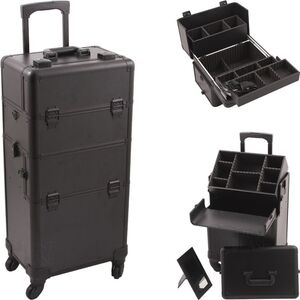 Black Smooth 4-Wheels Professional Rolling Aluminum Cosmetic Makeup Case And Easy-Slide & Extendable Trays With Dividers (VT002-22)
