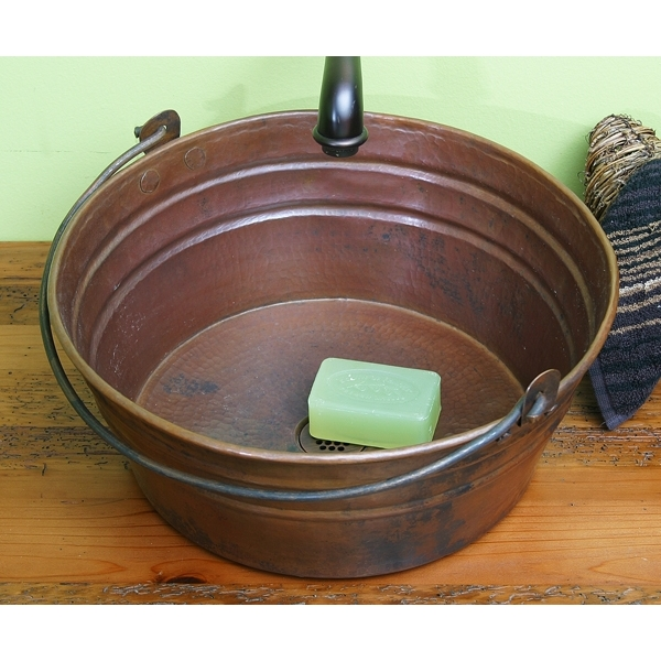 Copper Bucket Style Vessel whandle by Pure Spa Copper Elements