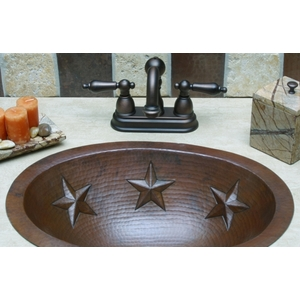 Copper Bath Oval-Star Sink by Pure Spa Copper Elements