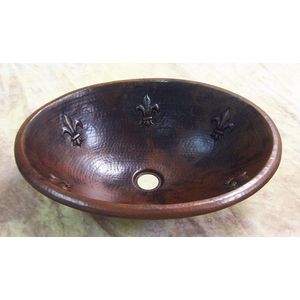 Copper Bath Oval Basin-Fleur de Lis-Limited Quantities Available! by Pure Spa Copper Elements
