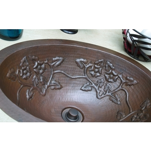 Copper Bath Oval-Floral Vine Sink by Pure Spa Copper Elements