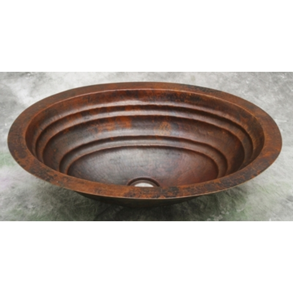 Copper Bath Oval Sink Basin-Ripple-Limited Quantities Available! by Pure Spa Copper Elements