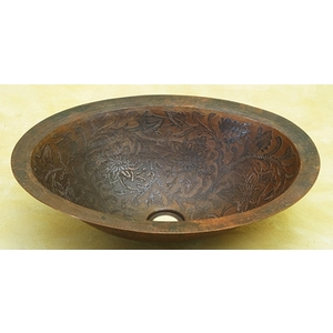 "Copper Bath Oval Sink 19""-Baroque by Pure Spa Copper Elements"