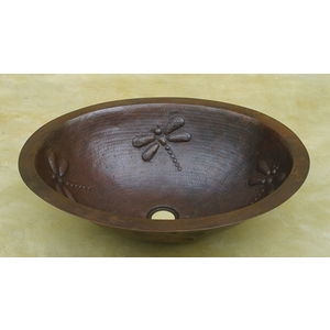 Copper Bath Wide Oval Lavatory-Dragonfly by Pure Spa Copper Elements