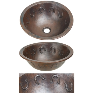 Copper Bath Round Lav Sink-Horse Shoe by Pure Spa Copper Elements