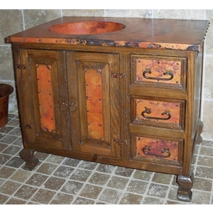 Rustic Vanity with Copper Sink by Pure Spa Copper Elements