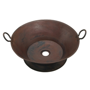 Copper Cazo Vessel Sink with Handles on Base by Pure Spa Copper Elements
