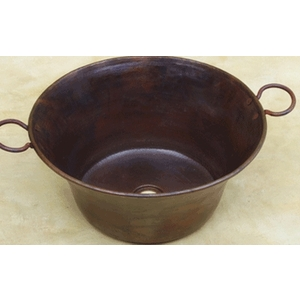 Deep Cazo Copper Sink with Handles VesselPrep Sink by Pure Spa Copper Elements