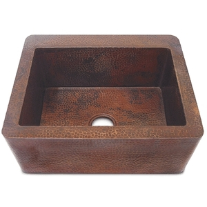 "Copper Farmhouse Apron Kitchen Sink-Single Basin 25"" by Pure Spa Copper Elements"