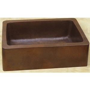 Copper Farmhouse Apron Sink with Rounded Corners by Pure Spa Copper Elements