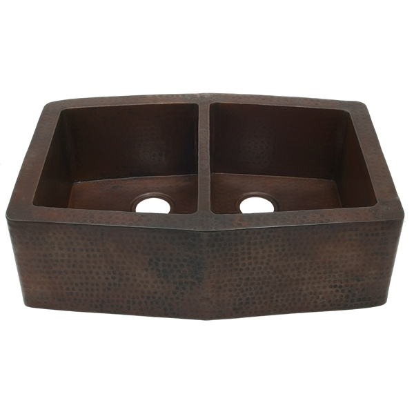 "Copper Kitchen Sink Farmhouse Apron 33""-Double 5050 Angled by Pure Spa Copper Elements"