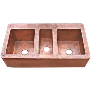 Copper Kitchen Sink Farmhouse Triple Well XXL by Pure Spa Copper Elements