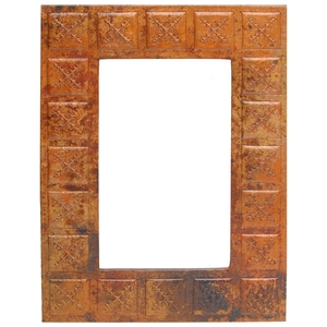 Rectangle Copper Mirror Frame with Tile Design by Pure Spa Copper Elements