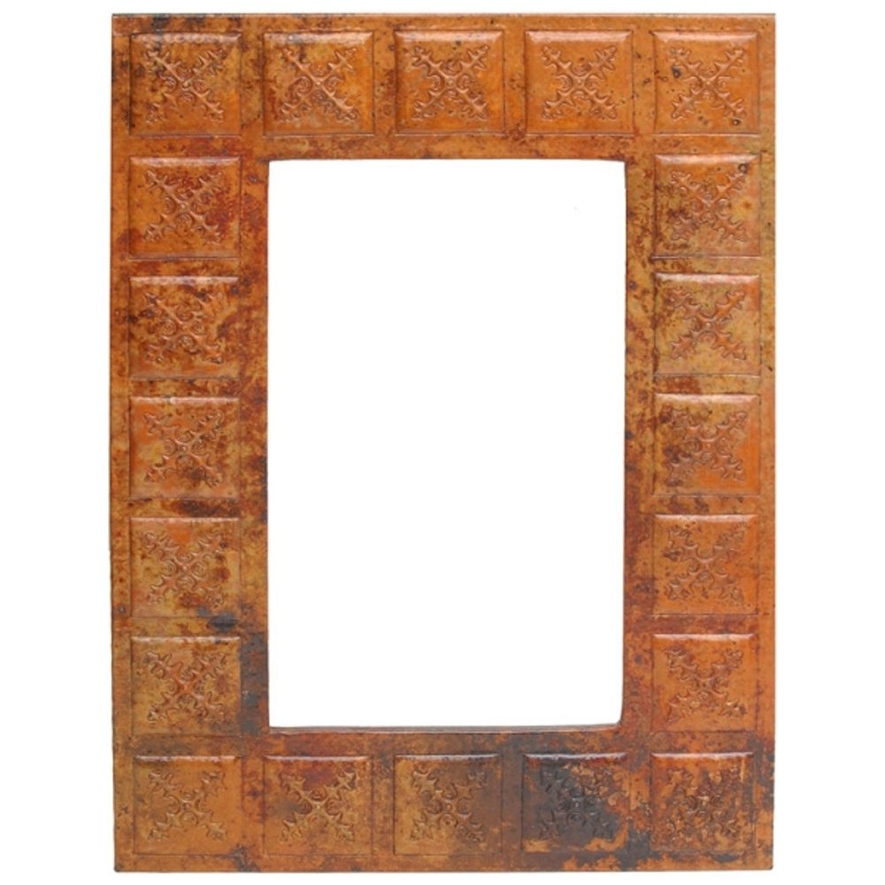 Rectangle Copper Mirror Frame with Tile Design by Pure Spa Copper ...