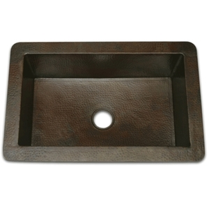 "Copper Kitchen Sink-Single Well 33"" LARGE by Pure Spa Copper Elements"